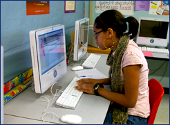 Girl at a computer at Garfield Park Academy - A private special education school in Burlington County NJ
