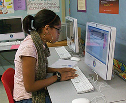Momentum Transition at Garfield Park Academy - female student at computer - private special education in Willingboro, NJ