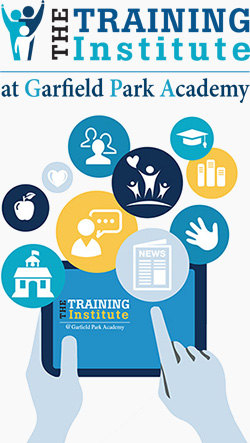 Training Institute logo and tablet image with icons