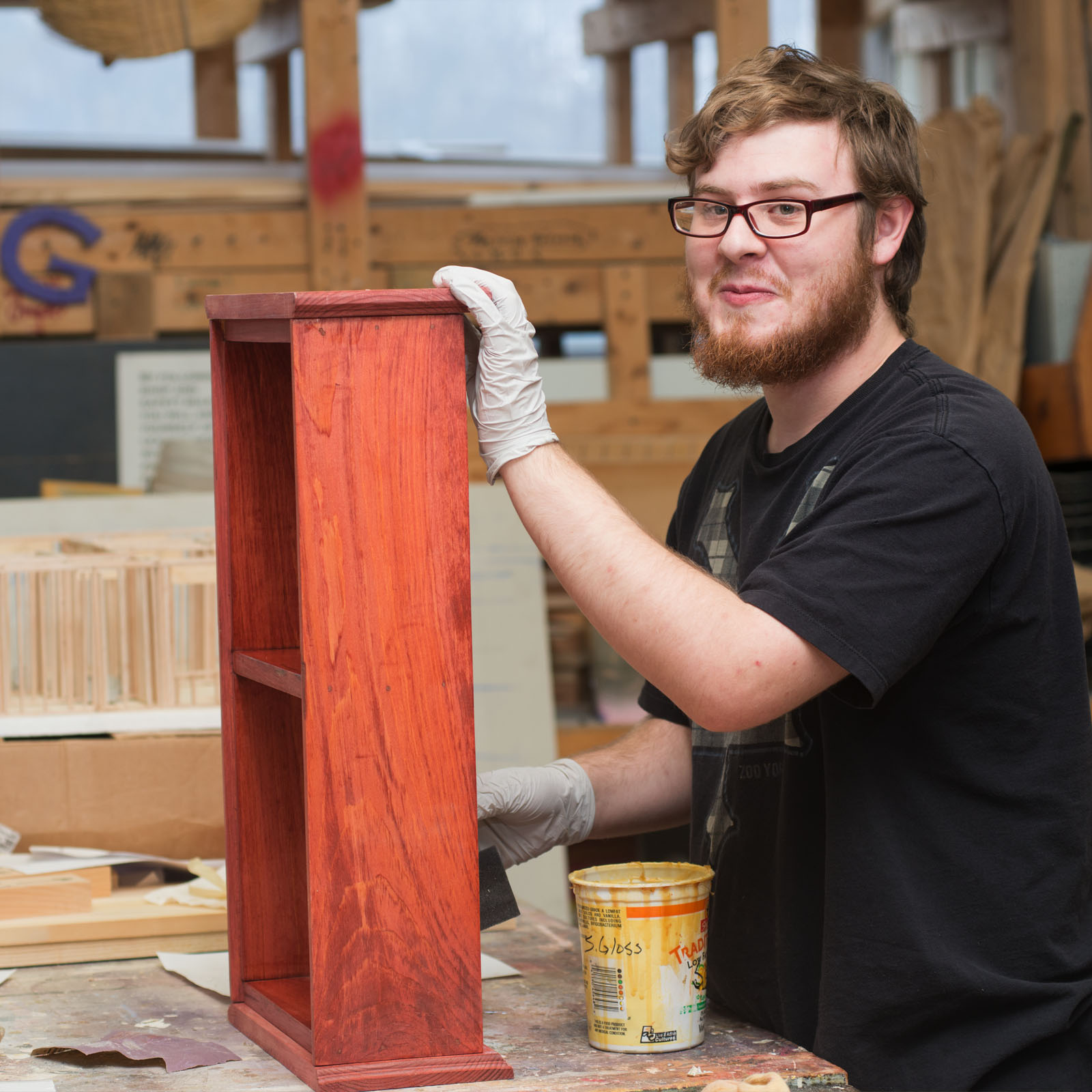 Carpentry student working on a project - Willingboro NJ - private special education school